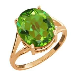 4.80 Ct Oval Envy Green Mystic Quartz 14k Rose Gold Ring Jewelry