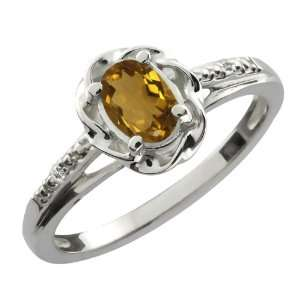 56 Ct Oval Whiskey Quartz White Topaz 14K White Gold Ring Jewelry