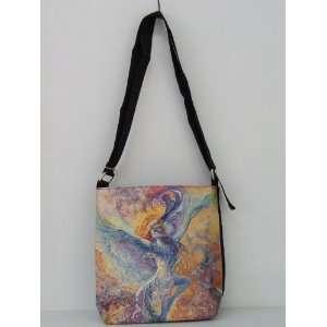 Rainbow Colorful Blue Bird Shoulder Bag 185 Josephine Wall Polyester