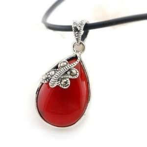 Marcasite Pendant Agate Stone Necklace Cheap Fashion Jewelry Green&red