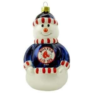 Boston Red Sox Blown Glass Snowman Ornament  Sports