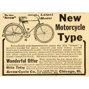 1914 Vintage Ad Arrow Cycle Bicycle Bike Antique Model