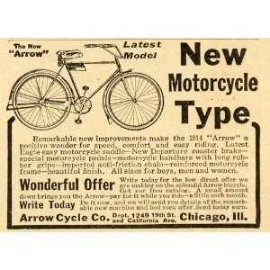 1914 Vintage Ad Arrow Cycle Bicycle Bike Antique Model