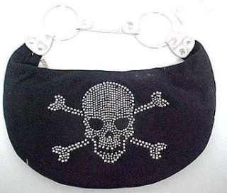 Rhinestone Skull & Crossbones Black Hobo Bag Purse Clothing