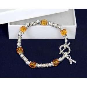 Ribbon Bracelet  Orange Beads w/ Silver Ribbon Charm (18 Bracelets