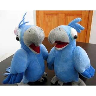 Blue Macaw Rio de Janiero Male & Female Pair Couple Set Plush Bird