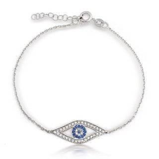Jewelry Rose Gold Plated Sterling Silver CZ Evil Eye Bracelet Jewelry