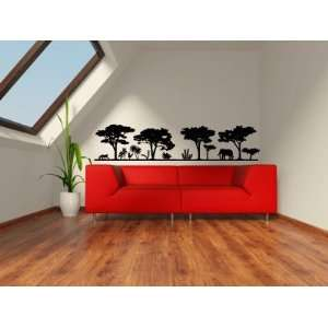 Safari Scene Elephant Monkey Trees Vinyl Wall Decal Sticker Graphic