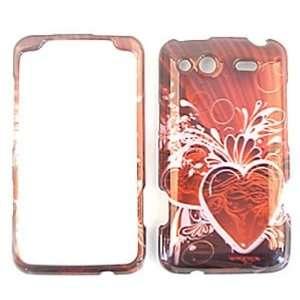 HTC Salsa Transparent Design, Pink Heart on Red Hard Case