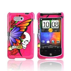 SKULL BUTTERFLY HOT PINK Hard Plastic Case Cover For HTC