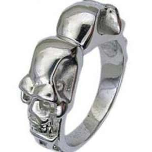 Stainless Steel Double Sided Skull Biker Ring Jewelry