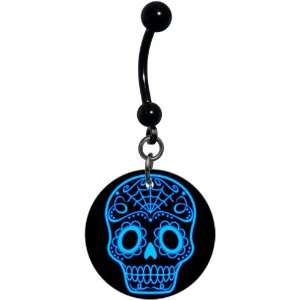 Black and Blue Sugar Skull Art Belly Ring Body Candy Jewelry