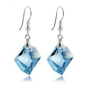 Blue Crystal Sterling Silver Earrings Used Swarovski Crystals