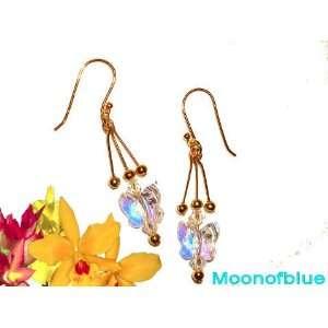 Stunning Swarovski Crystal Butterfly Earrings   14K Gold