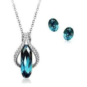 Carribean Blue Crystal Pendant & Earrings Set Used Swarovski Crystals