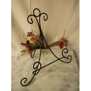 Metal Table Top Plate Stand   Black Set of 4