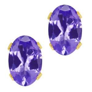 90 Ct Oval Shape Blue Tanzanite Yellow Gold Plated Brass Stud Earrings