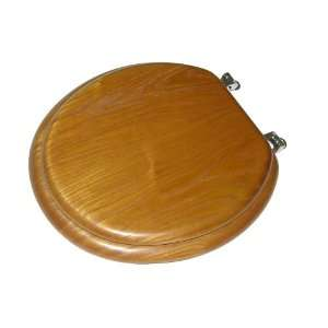 Toilet Seat with Microban Protection and Chrome Hinges, Round, Oak