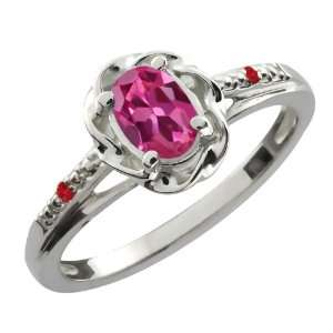 Oval Pink Tourmaline Red Rhodolite Garnet 10K White Gold Ring Jewelry