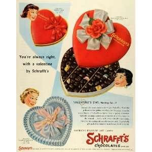 1955 Ad Schraffts Chocolates Valentines Day Valentine