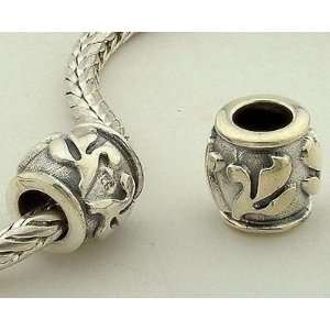 Sterling Silver European Style Antique Silver Flower Petals Charms