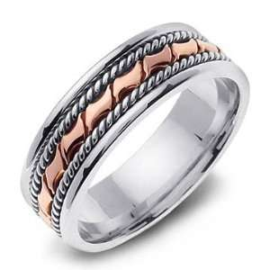 14K Two Tone Gold Hand Carved Braided Wedding Band Ring Jewelry