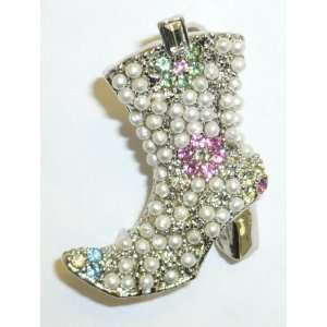 Jewelry Pin   Seed Pearl Western Boots Pin Jewelry