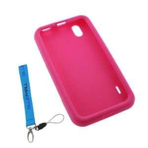 GTMax Hot Pink Skin Rubber Soft Silicone Case + Wrist Strap