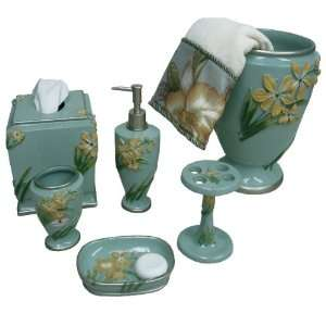 Villa Flora Blue and Yellow 6 Piece Bathroom Accessory Set:
