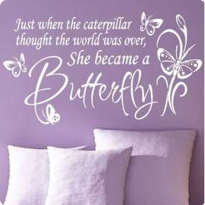 Large White Butterfly CaterpillarWall Decal Little Girls