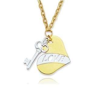 14k Two Tone Heart & Key Pendant Necklace Jewelry