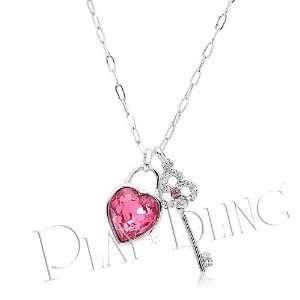 True Heart Swarovski Crystal Necklace   Pink