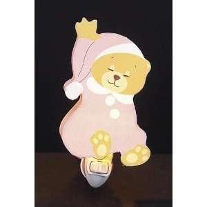 Childrens Quality Designed Pink Sleeping Bear Room Night Light Baby