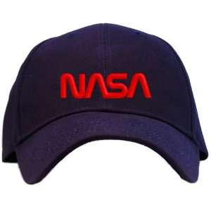 Nasa   Red Worm Logo Embroidered Baseball Cap   Navy