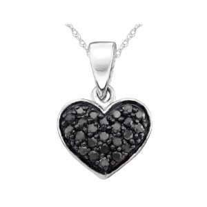 Black Diamond Heart Pendant 1/4 Carat (ctw) in 10K White