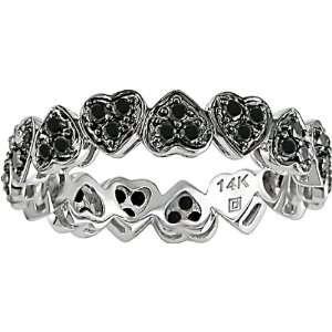 14K White Gold 1/2 ctw Black Diamond Hearts Ring Jewelry