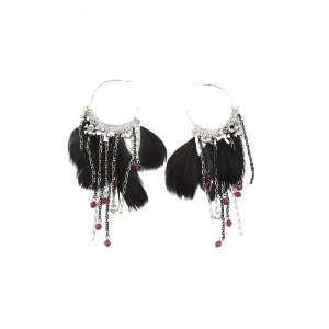 Black Feather And Charm Hoop Earrings