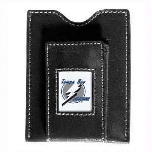 Tampa Bay Lightning Black Leather Money Clip & Card Case