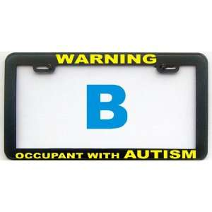 AUTISM CAUTION OCCUPANT WITH AUTISM LICENSE PLATE FRAME
