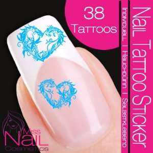Nail Art Tattoo Sticker Heart / Floral   turquoise / light
