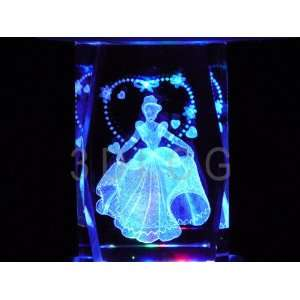 Disney Cinderella Princess with Hearts 3D Laser Etched
