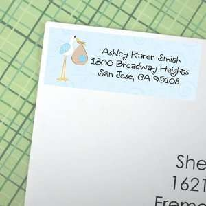 Stork Baby Boy   30 Personalized Baby Shower Return Address Labels