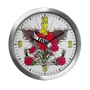 Modern Wall Clock Love Flaming Heart with Angel Wings Everything Else
