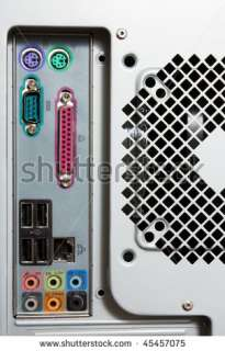 Part Of Pc Computer Tower With Ports. Rear View Stock Photo 45457075