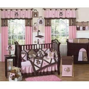 : Pink and Chocolate Teddy Bear Baby Girls Bedding 9pc Crib Set: Baby