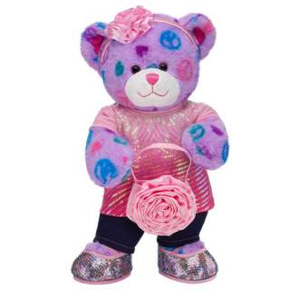 Sequin Style Peace & Hearts Bear   Build A Bear Workshop US