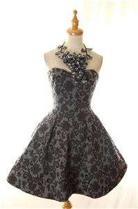 NWT AUTH Betsey Johnson 3D Lace Brocade Cotton Embroidered Prom