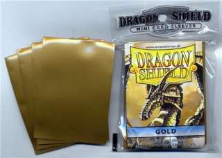 50 Dragon Shield Gold Yugioh Size Card Sleeves Deck Protectors