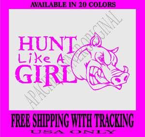 BOAR HUNTING DECAL GIRL Hog,Javelina Pig Hunt 3719BG1