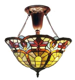 VICTORIAN TIFFANY STYLE STAINED GLASS HANGING LAMP